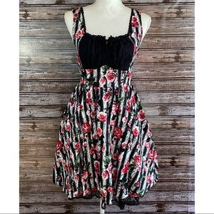 Hot Topic- Black/White Floral Fit and Flare Dress